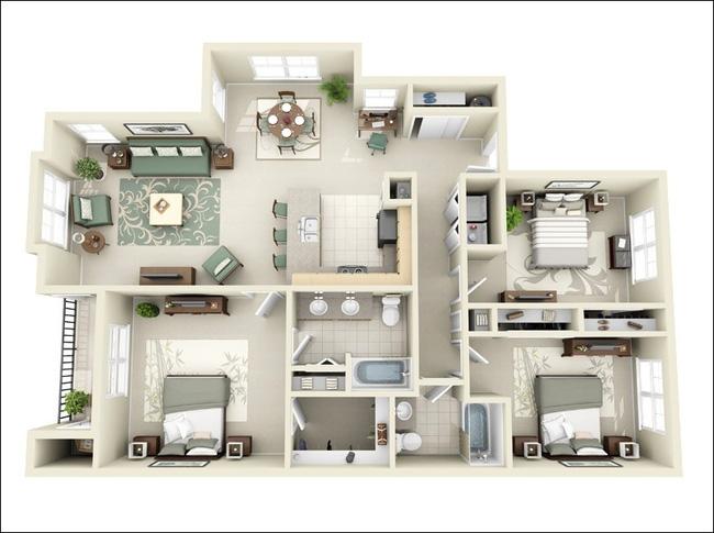 Thiết kế chung cư 100m2 3 phòng ngủ sang trọng