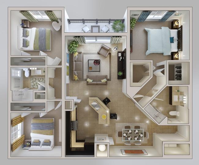 Không gian phòng ngủ toát lên vẻ sang trọng và ấn tượng
