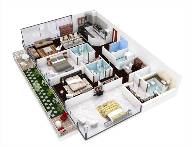 Không gian căn hộ 100m2 được chia ra thành nhiều khu vực