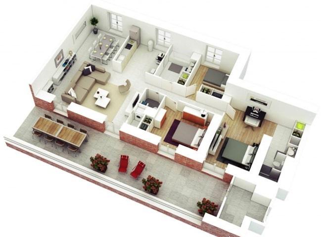 Thiết kế căn hộ 100m2 với màu sắc ấn tượng