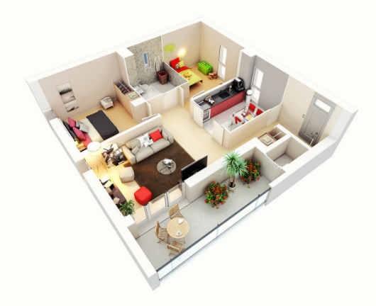 Thiết kế căn hộ trên mặt bằng vuông