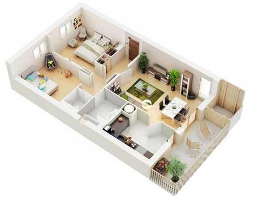 Thiết kế căn hộ chung cư 80m2 trên mặt bằng hình chữ nhật