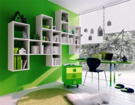 Tông màu xanh lá nên nội thất xanh, trắng đen là phù hợp nhất