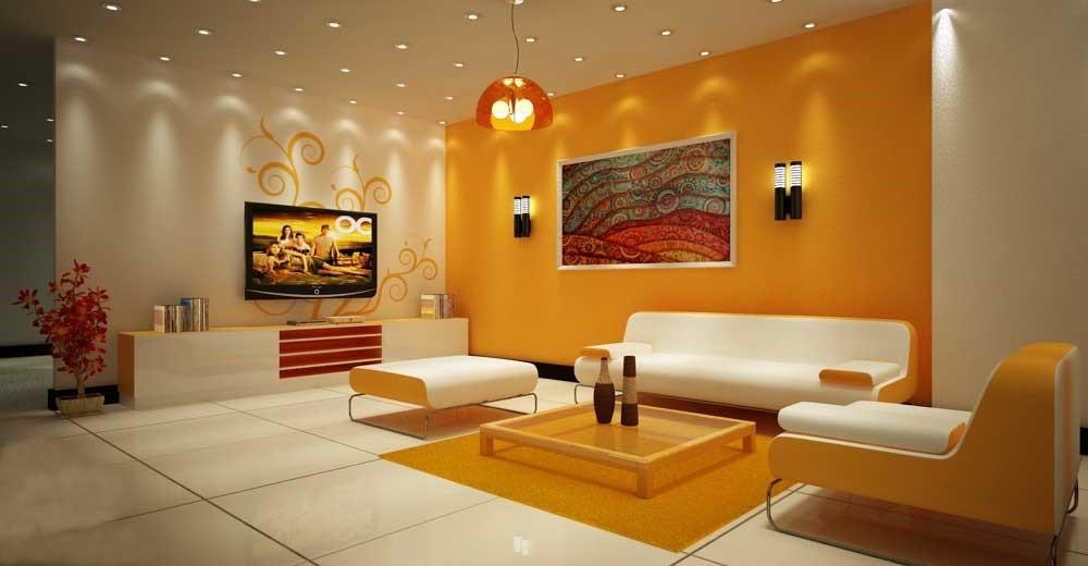 Phối hợp màu sắc hài hòa giữa tường nhà, sàn gạch và nội thất