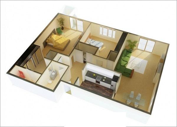 Mẫu thiết kế chung cư 90m2 đẹp 9