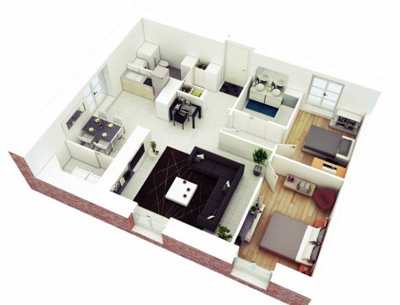Mẫu thiết kế chung cư 90m2 đẹp 12