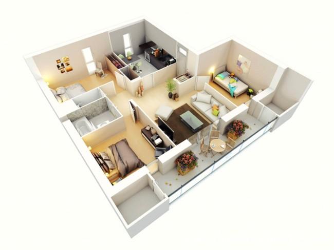 Mẫu thiết kế chung cư 90m2 đẹp 15