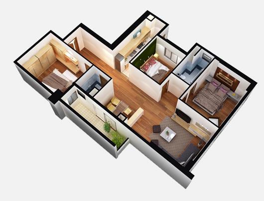 Mẫu thiết kế chung cư 90m2 đẹp 16