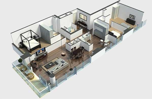 Mẫu thiết kế chung cư 90m2 đẹp 17