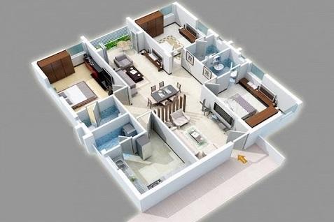 Mẫu thiết kế chung cư 90m2 đẹp 22