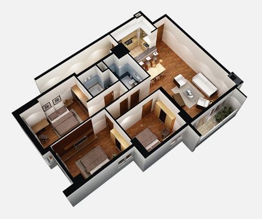 Mẫu thiết kế chung cư 90m2 đẹp 23