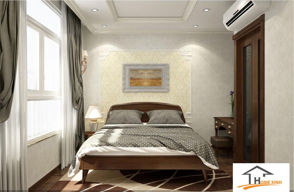 Phòng ngủ master nhà phố sử dụng chất liệu gỗ tự nhiên