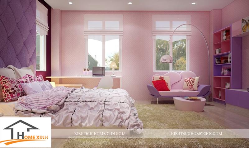 Thiết kế nội thất phòng ngủ bé gái - Ảnh 02
