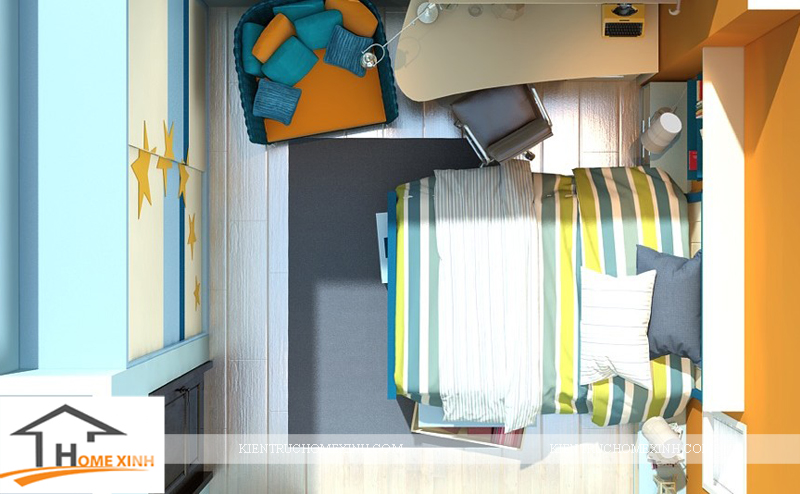 Thiết kế nội thất phòng ngủ con trai - Ảnh 02