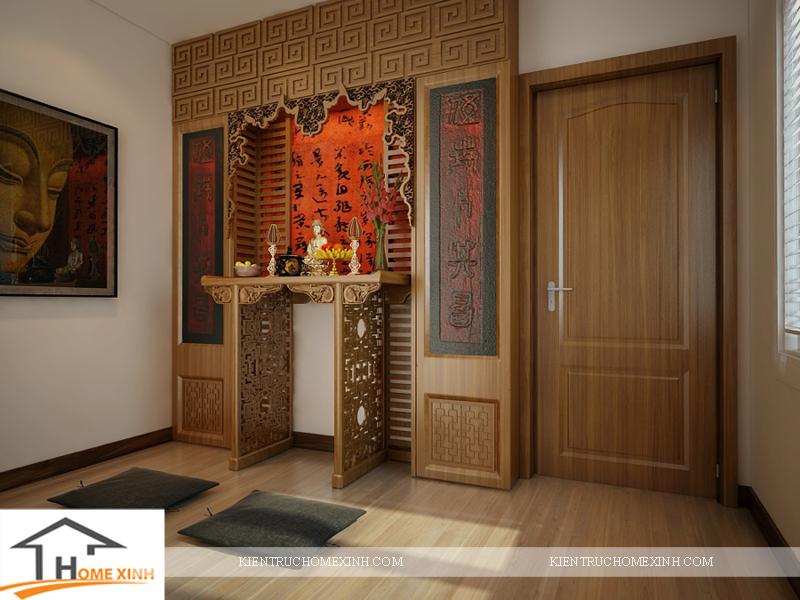 Thiết kế nội thất phòng thờ của căn biệt thự