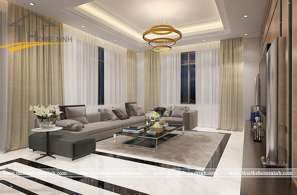 Thiết kế nội thất phòng khách biệt thự nhà chú Yết