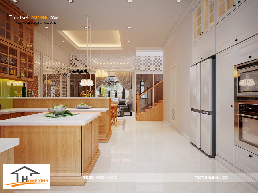 Không gian phòng bếp rộng rãi, thông thoáng
