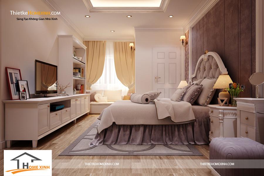 Thiết kế nội thất phòng ngủ với màu sắc hài hòa