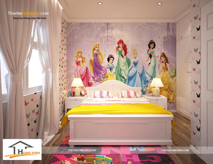 Phòng ngủ con thiết kế với hình ảnh ngộ nghĩnh