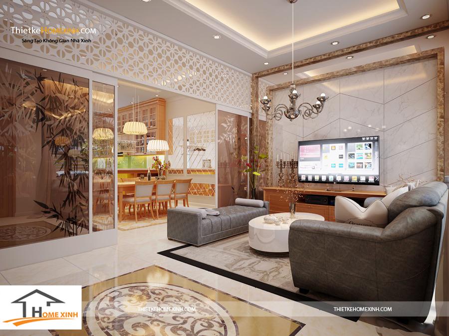 Không gian trong thiết kế nội phòng khách sang trọng, đẳng cấp