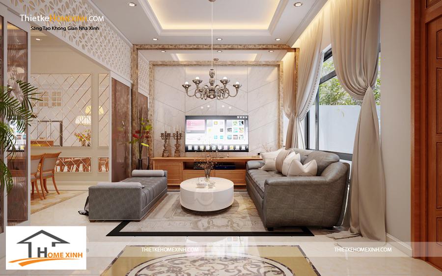 Thiết kế nội thất phòng khách theo phong cách bán cổ điển