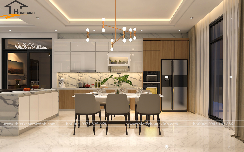 Thiết kế không gian nội thất phòng bếp và phòng ăn