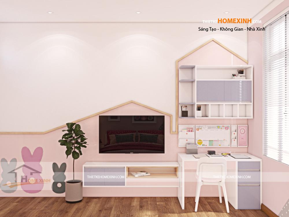 Không gian phòng ngủ con gái với màu hồng đáng yêu
