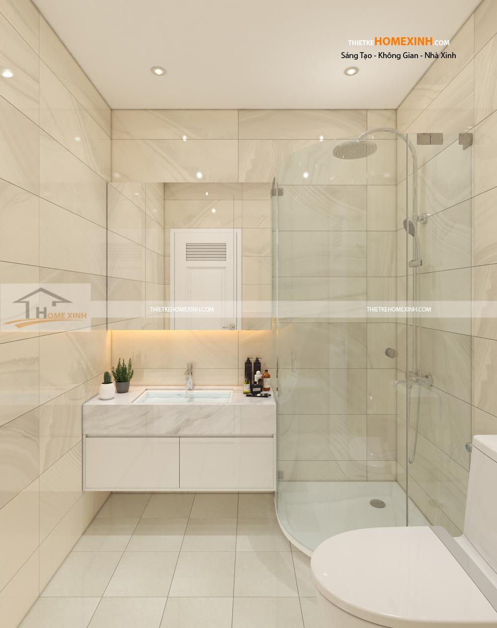 Thiết kế nội thất biệt thự phòng tắm đơn giản