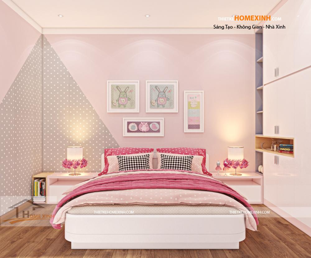 Thiết kế phòng ngủ con gái rộng rãi, thông thoáng