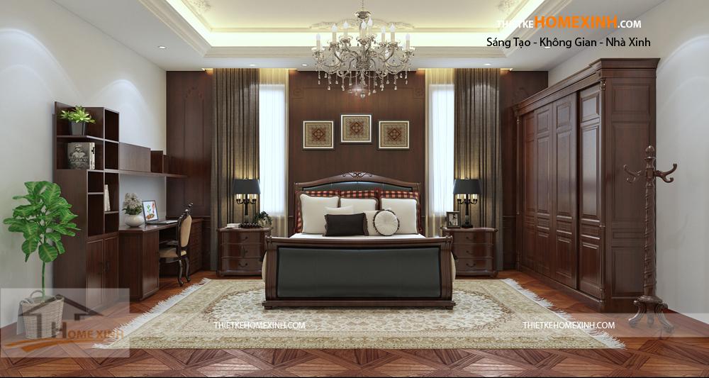 Phòng ngủ ông bà mang màu sắc cổ điển