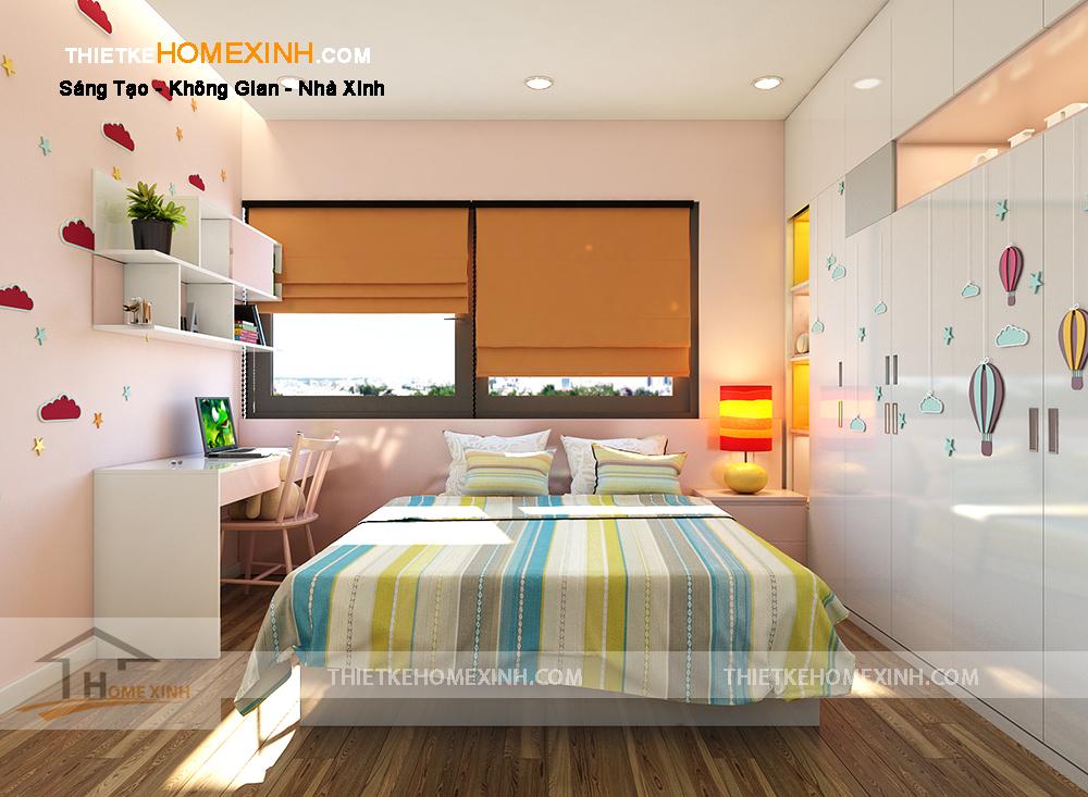 Phòng ngủ con gái nhiều màu sắc