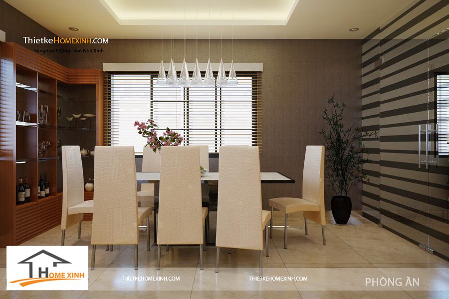 Phòng ăn mang màu sắc nhã nhặn,tươi sáng