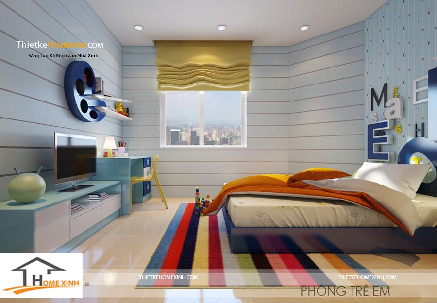 Thiết kế nội thất phòng ngủ trẻ em với màu sắc tươi sáng