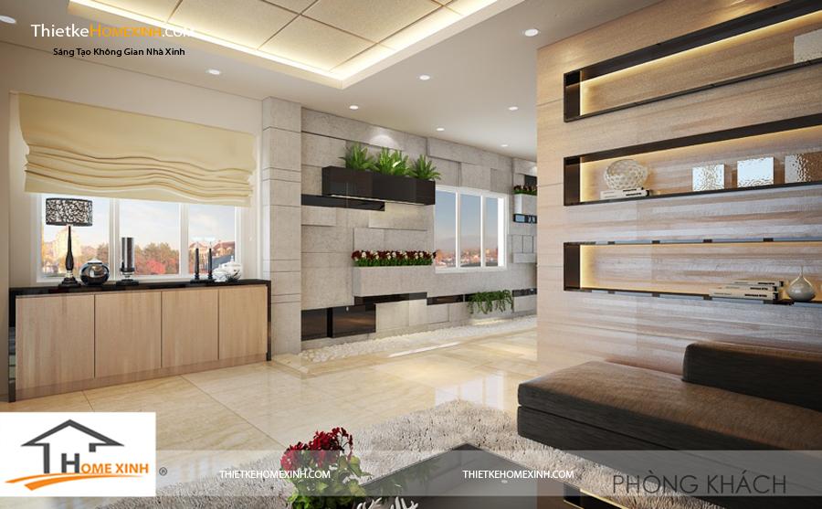 Phòng khách với gam màu tươi mới