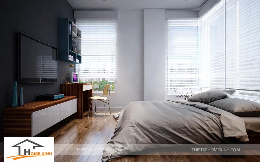Phòng ngủ ông bà cũng được thiết kế cửa kính lớn