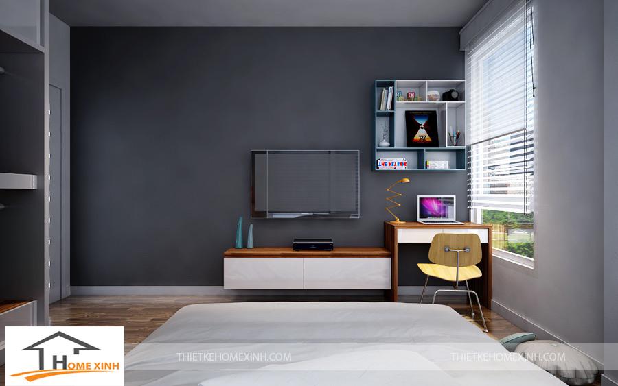 Không gian phòng ngủ ông bà thiết kế kệ tivi và bàn ghế làm việc