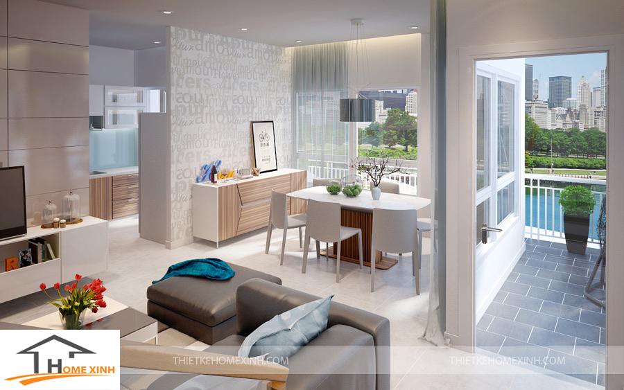 Không gian chung của tầng một nhà phố