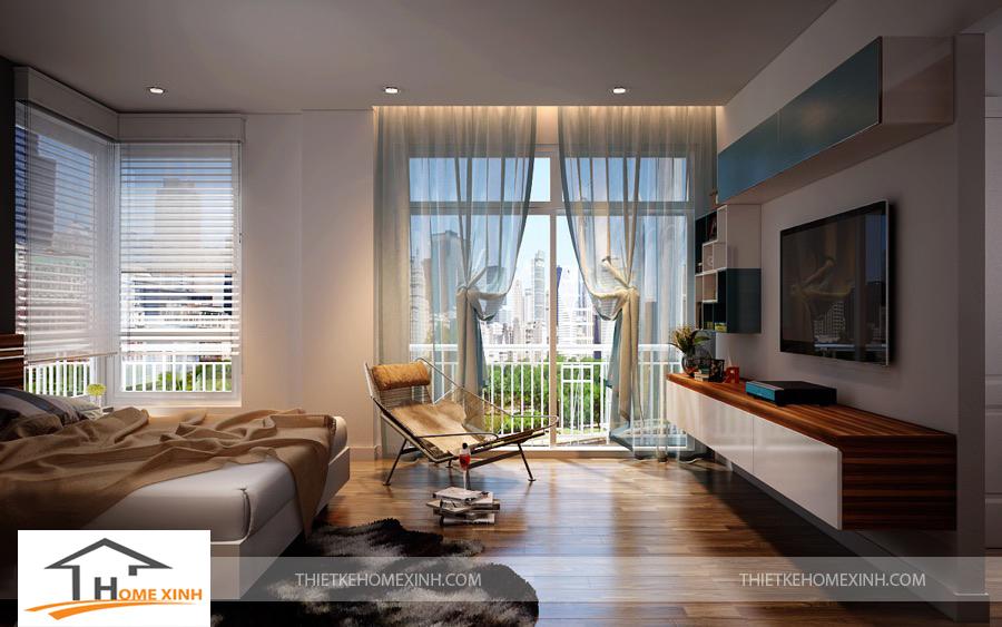 Không gian phòng ngủ master được thiết kế cửa lớn thoáng và mát