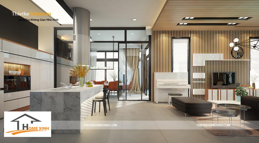 Không gian phòng bếp thiết kế với gam màu trắng