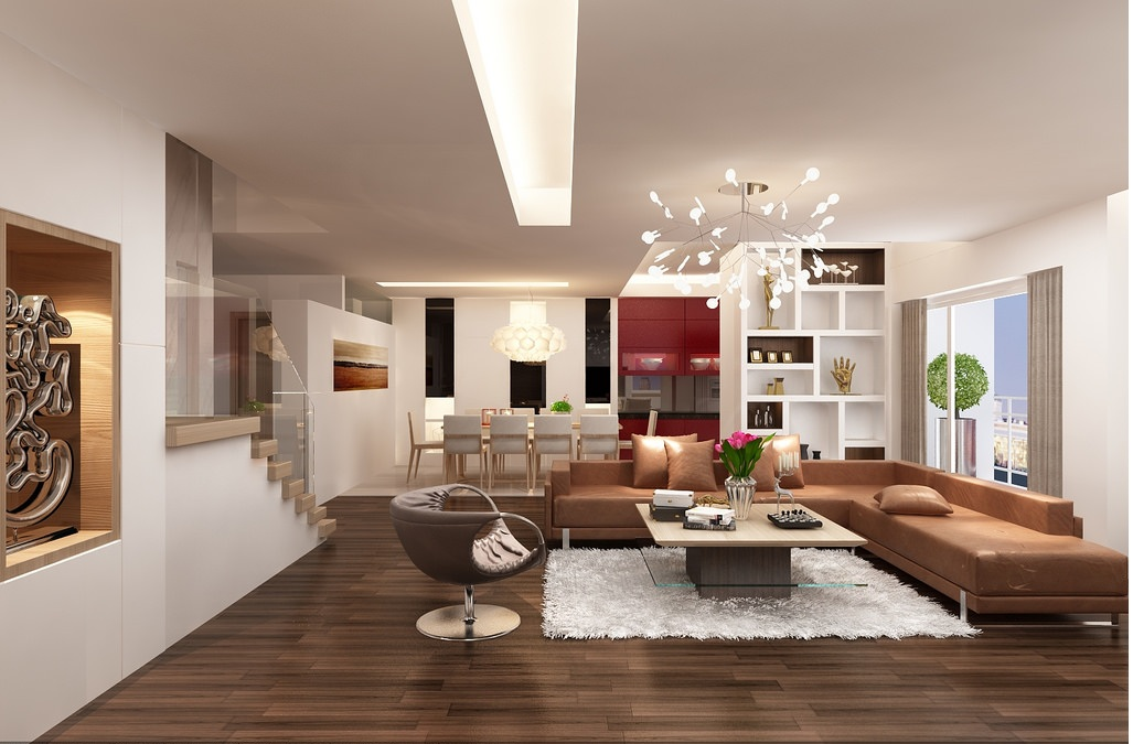 Thiết kế nội thất phòng khách với tone màu hấp dẫn