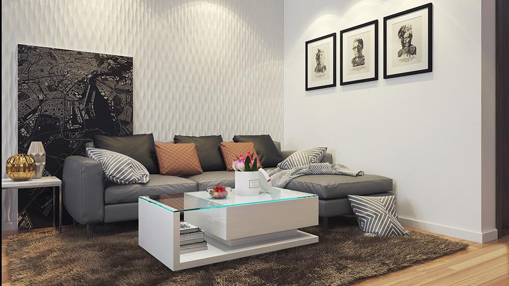 Không gian phòng khách sử dụng gam màu nhẹ nhàng