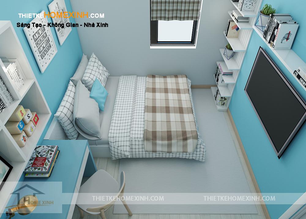 Phòng ngủ con trai với gam màu xanh dương nhẹ nhàng