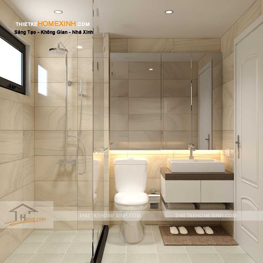Không gian phòng tắm sạch sẽ, hiện đại