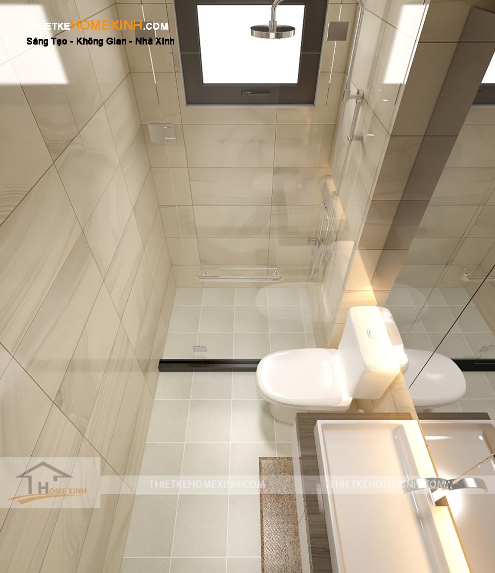 Thiết kế nội thất nhà liền kề với phòng tắm đẹp