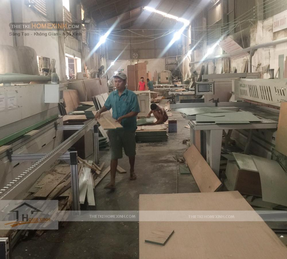 Xưởng thi công nội thất gỗ của HomeXinh tại Hà Nội