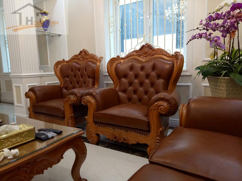 Bộ ghế sofa vàng nân cổ điển
