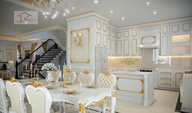 Thiết kế nội thất biệt thự với bếp và phòng ăn sang trọng