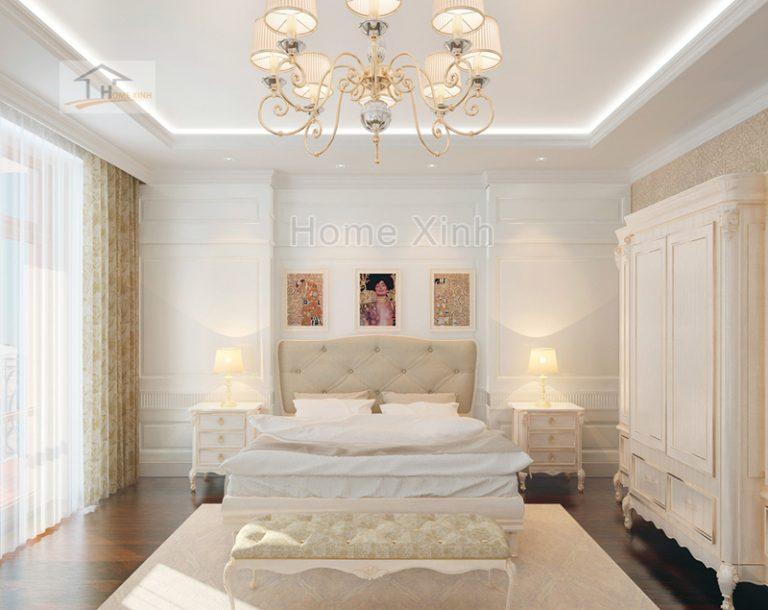 Thiết kế nội thất phòng ngủ biệt thự theo phong cách tân cổ điển