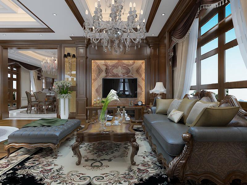 Phòng khách biệt thự theo phong cách tân cổ điển