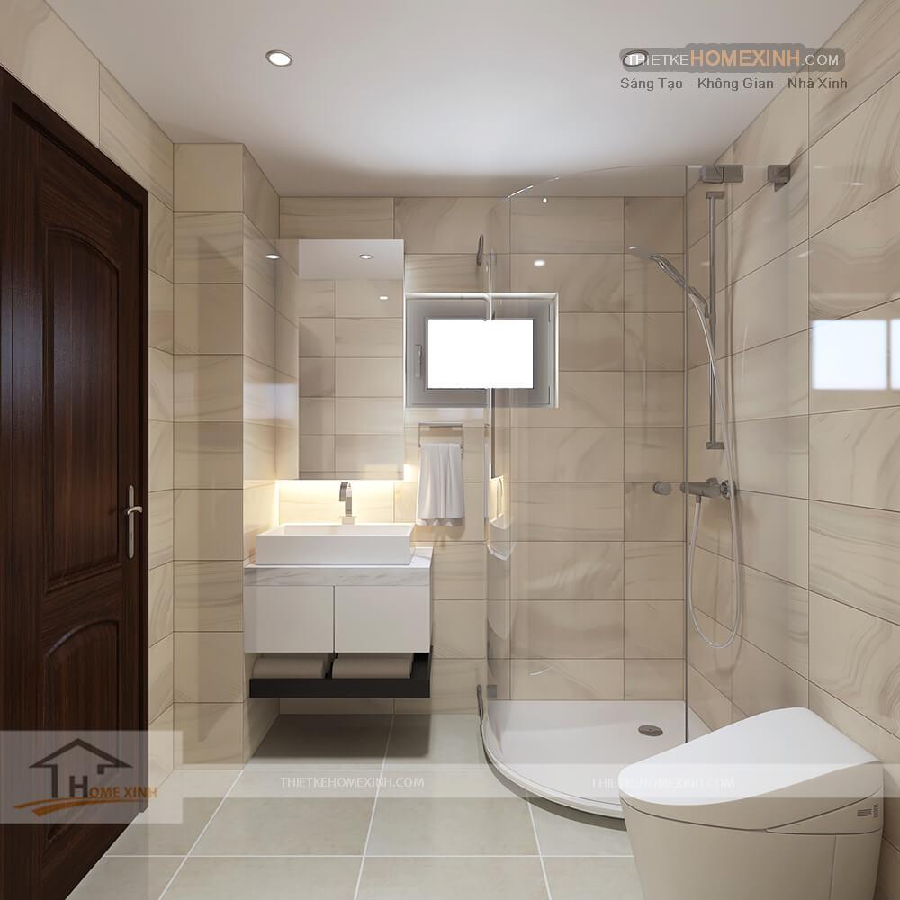 Phòng vệ sinh được thiết kế ngăn nắp và tiện nghi